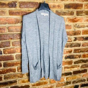 LOFT Gray Open Front Wool Cardigan Size XSP